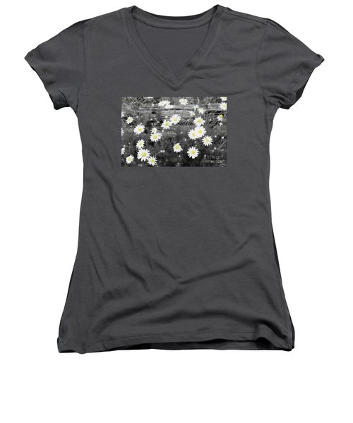 Women's V-Neck T-Shirt (Junior Cut) featuring the photograph Daisy Patch by Benanne Stiens