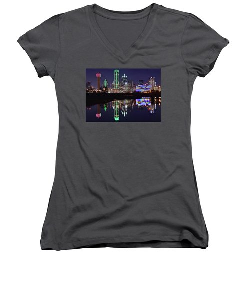Dallas Reflecting At Night Women's V-Neck T-Shirt (Junior Cut) by Frozen in Time Fine Art Photography