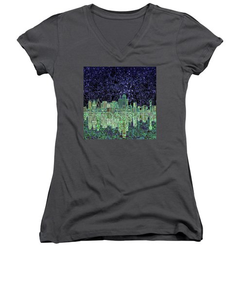 Dallas Skyline Abstract 4 Women's V-Neck T-Shirt