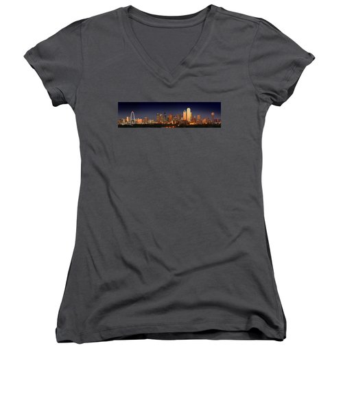 Dallas Skyline At Dusk  Women's V-Neck T-Shirt