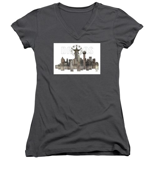 Women's V-Neck T-Shirt (Junior Cut) featuring the digital art Dallas Texas Skyline by Doug Kreuger