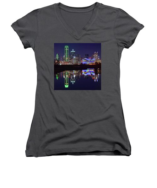Women's V-Neck T-Shirt (Junior Cut) featuring the photograph Dallas Texas Squared by Frozen in Time Fine Art Photography
