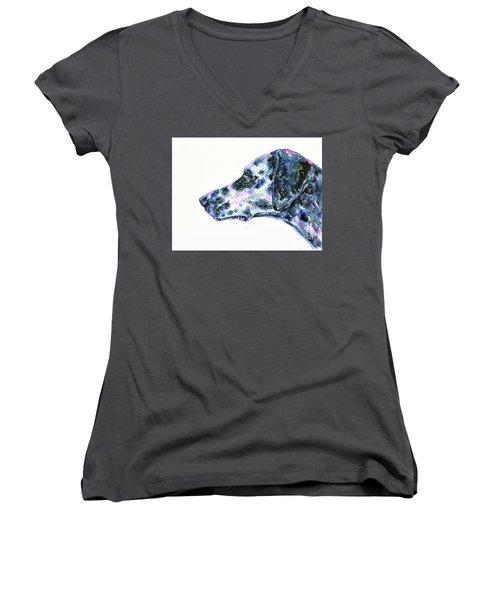 Women's V-Neck T-Shirt featuring the painting Dalmatian by Zaira Dzhaubaeva