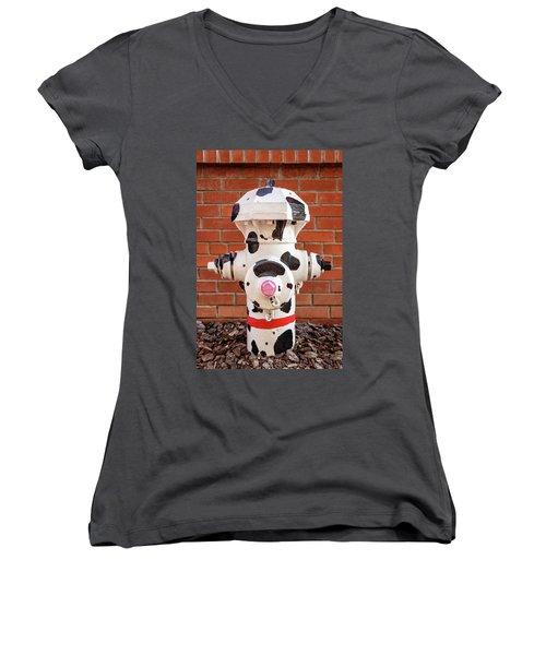 Dalmation Hydrant Women's V-Neck T-Shirt (Junior Cut) by James Eddy