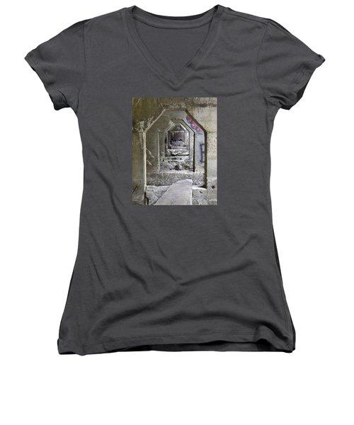 Women's V-Neck T-Shirt (Junior Cut) featuring the photograph Dam Above Garwin Falls, Wilton, Nh by Betty Denise