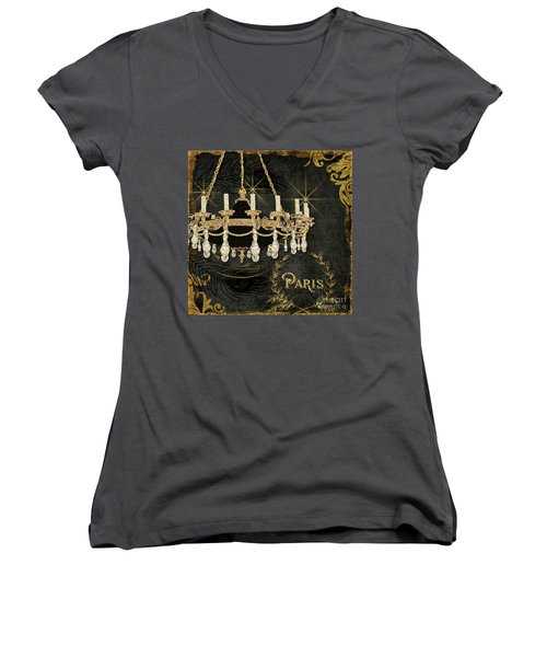 Women's V-Neck T-Shirt featuring the painting Dance The Night Away 2  by Audrey Jeanne Roberts