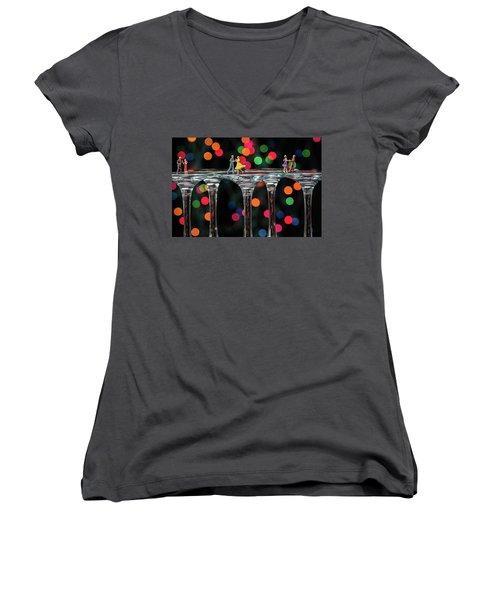 Dancers On Wine Glasses Women's V-Neck T-Shirt