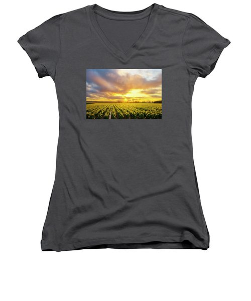 Dances With The Daffodils Women's V-Neck T-Shirt (Junior Cut) by Ryan Manuel
