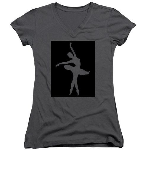 Dancing Ballerina White Silhouette Women's V-Neck T-Shirt
