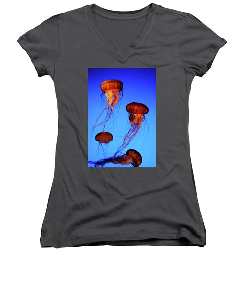 Women's V-Neck T-Shirt (Junior Cut) featuring the photograph Dancing Jellyfish by Anthony Jones