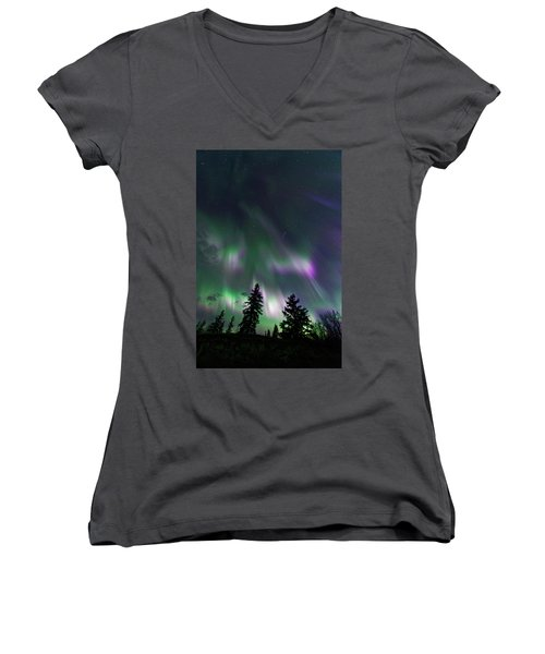 Dancing Lights Women's V-Neck T-Shirt (Junior Cut) by Dan Jurak