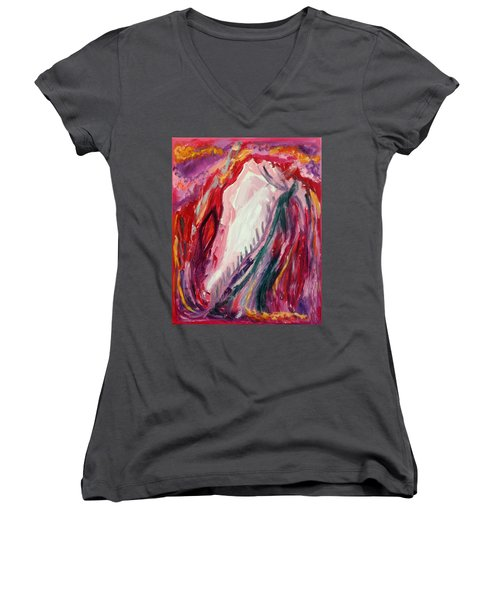 Women's V-Neck T-Shirt (Junior Cut) featuring the painting Dancing Under The Moon by Diane Pape