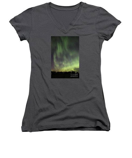 Women's V-Neck T-Shirt (Junior Cut) featuring the photograph Dancing With The Dipper by Larry Ricker