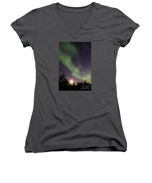 Women's V-Neck T-Shirt (Junior Cut) featuring the photograph Dancing With The Moon by Larry Ricker