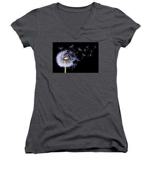 Dandelion Blowing On Black Background Women's V-Neck T-Shirt