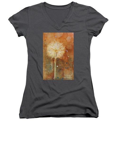 Dandelion Clock 1 Women's V-Neck T-Shirt