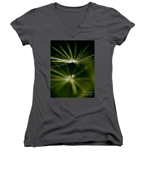 Dandelion Flower With Water Drops  Women's V-Neck