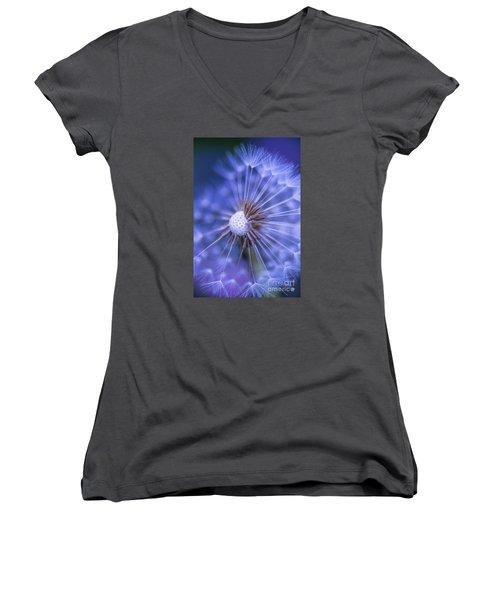 Dandelion Wish Women's V-Neck T-Shirt (Junior Cut) by Alana Ranney