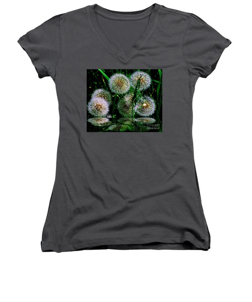 Women's V-Neck T-Shirt (Junior Cut) featuring the photograph Dandies  by Elfriede Fulda
