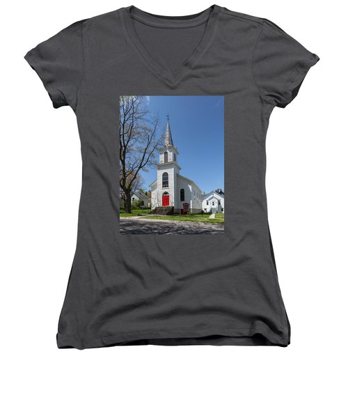 Women's V-Neck T-Shirt featuring the photograph Danish Lutheran Church by Fran Riley