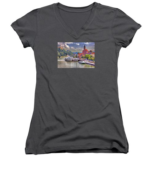 Danube At Passau Women's V-Neck T-Shirt (Junior Cut) by Dennis Cox WorldViews