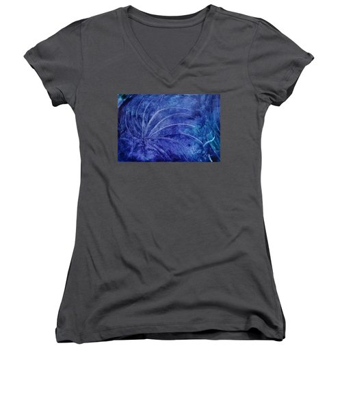 Dark Blue Abstract Women's V-Neck