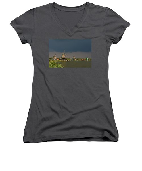 Dark Clouds Above Zaanse Schans Women's V-Neck