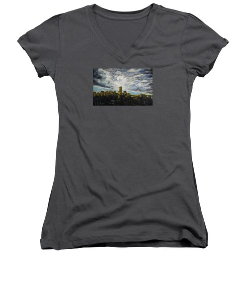 Women's V-Neck T-Shirt (Junior Cut) featuring the painting Dark Clouds Approaching 2 by Ron Richard Baviello