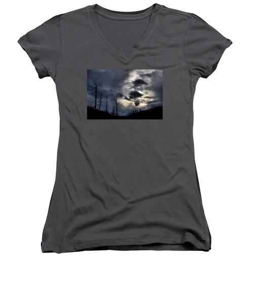 Women's V-Neck T-Shirt (Junior Cut) featuring the photograph Dark Clouds by Tara Turner