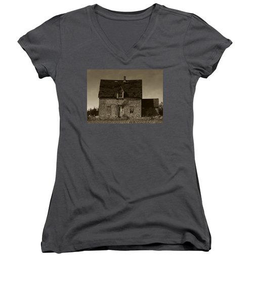 Dark Day On Lonely Street Women's V-Neck T-Shirt (Junior Cut) by RC DeWinter