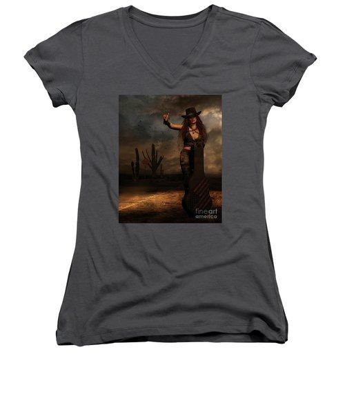 Women's V-Neck T-Shirt (Junior Cut) featuring the digital art Dark Desert Highway by Shanina Conway