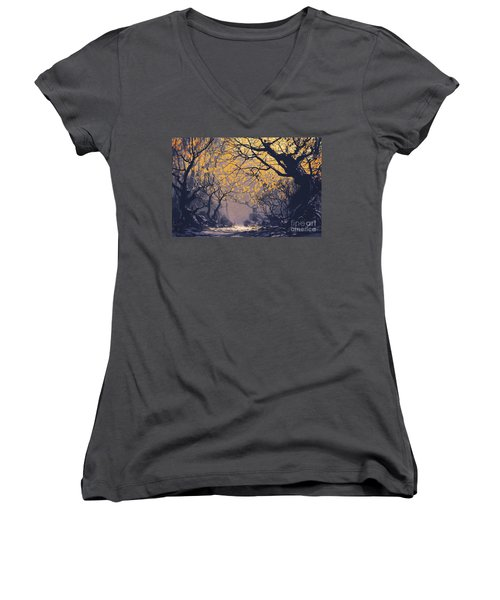 Dark Forest Women's V-Neck (Athletic Fit)