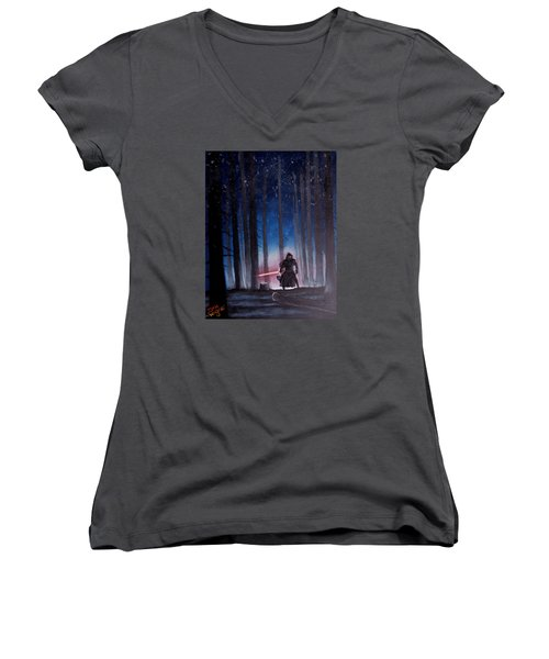 Women's V-Neck T-Shirt (Junior Cut) featuring the painting Dark Jedi by Dan Wagner