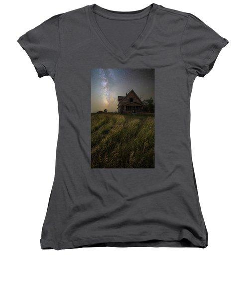 Women's V-Neck T-Shirt featuring the photograph Dark Manor by Aaron J Groen