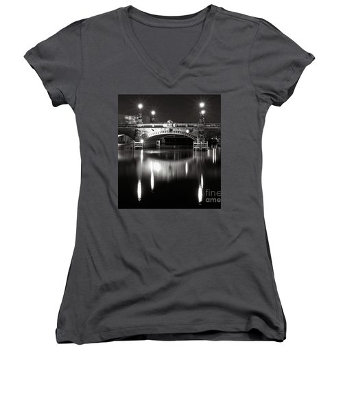 Dark Nocturnal Sound Of Silence Women's V-Neck (Athletic Fit)