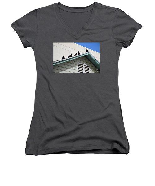 Dark Pigeons Women's V-Neck T-Shirt