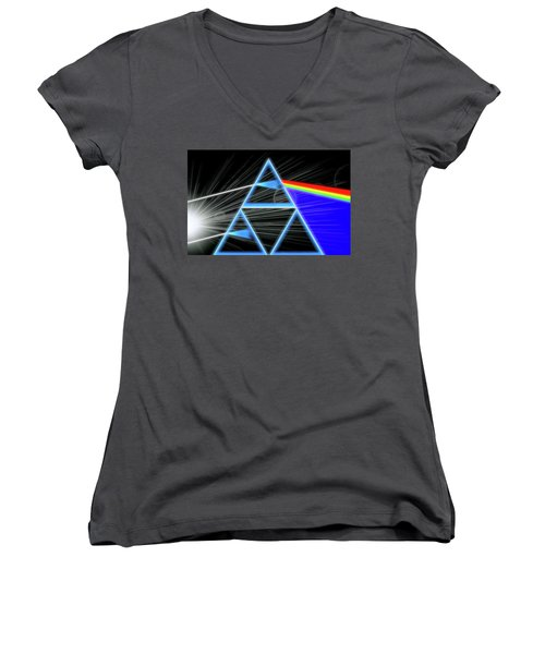 Women's V-Neck T-Shirt (Junior Cut) featuring the digital art Dark Side Of The Moon by Dan Sproul