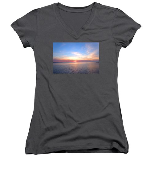 Dark Sunrise I I Women's V-Neck T-Shirt (Junior Cut) by  Newwwman
