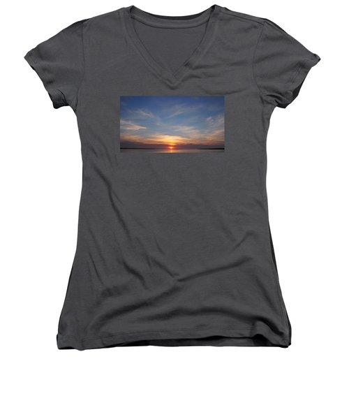 Women's V-Neck T-Shirt (Junior Cut) featuring the photograph Dark Sunrise by  Newwwman