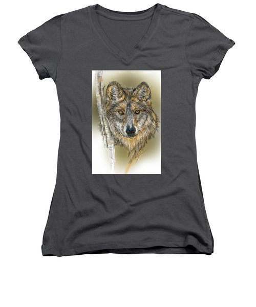Dark Wolf With Birch Women's V-Neck (Athletic Fit)