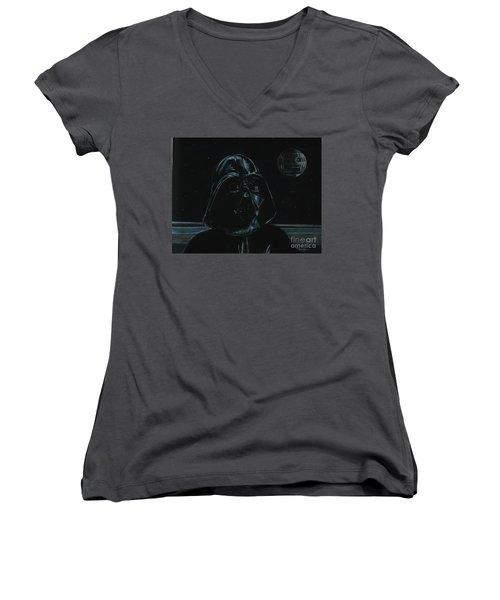Darth Vader Study Women's V-Neck T-Shirt (Junior Cut) by Meagan  Visser