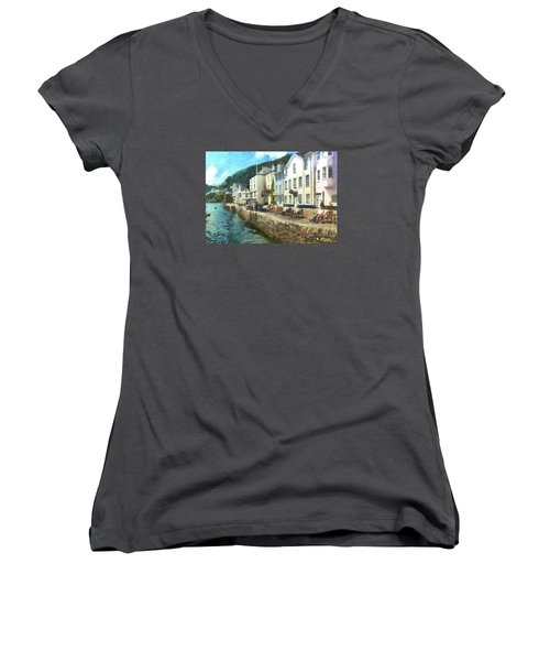 Women's V-Neck T-Shirt (Junior Cut) featuring the digital art Bayards Cove Dartmouth Devon  by Charmaine Zoe