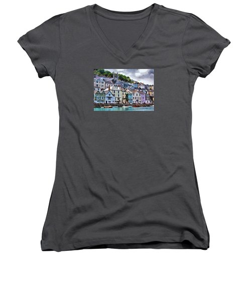 Women's V-Neck T-Shirt (Junior Cut) featuring the digital art Dartmouth Devon by Charmaine Zoe