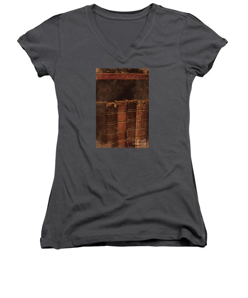 Women's V-Neck T-Shirt featuring the photograph Dated Textbooks by Jorgo Photography - Wall Art Gallery