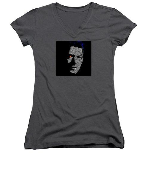 David Bowie 1 Women's V-Neck T-Shirt (Junior Cut) by Emme Pons