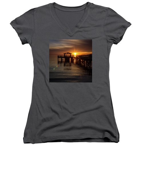 Davis Bay Pier Sunset Women's V-Neck T-Shirt