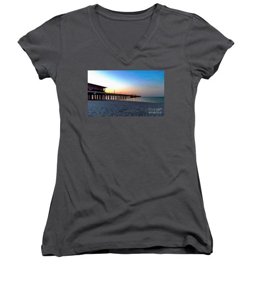 Dawn At Gulf Shores Pier Al Seascape 1283a Digital Painting Women's V-Neck