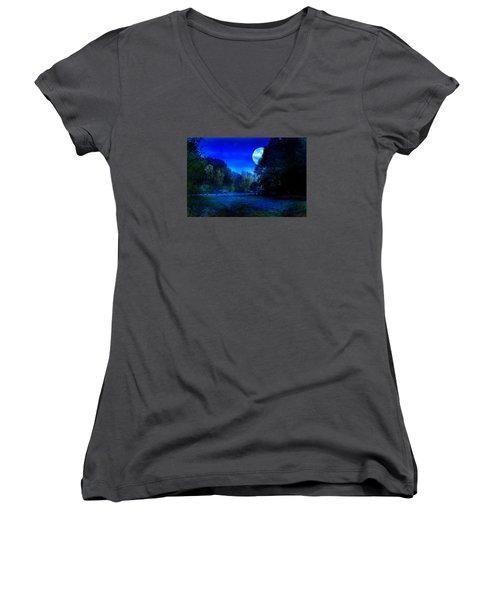 Dawn At Night Women's V-Neck T-Shirt (Junior Cut) by Bernd Hau
