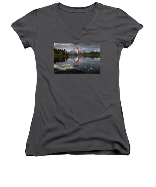 Dawn At Oxbow Bend Women's V-Neck (Athletic Fit)