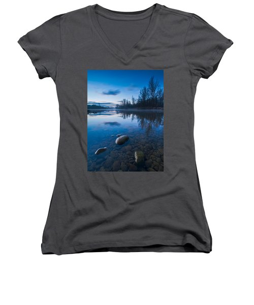 Dawn At River Women's V-Neck T-Shirt